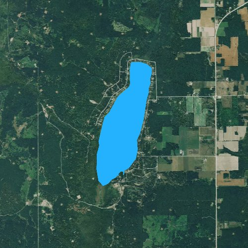 Fly fishing map for Beaver Lake, Michigan