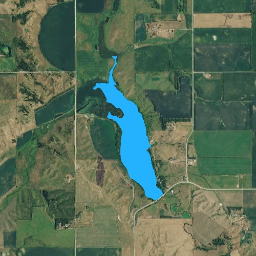 Fly fishing map for Beaver Lake: Yankton, South Dakota