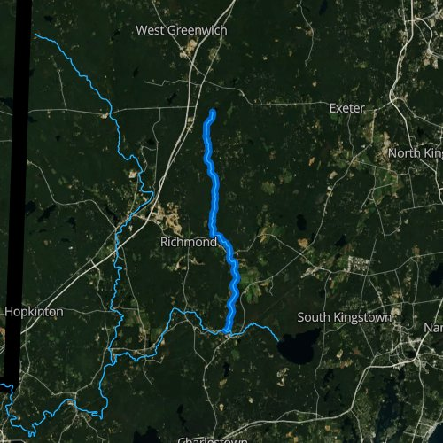 Fly fishing map for Beaver River, Rhode Island