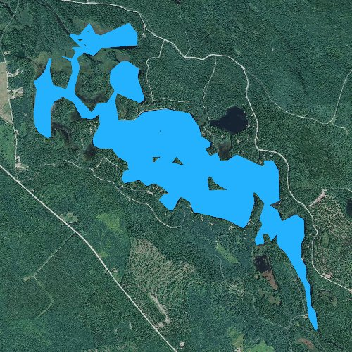 Fly fishing map for Beddington Lake, Maine