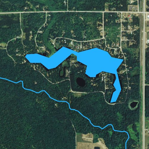 Fly fishing map for Beecher Lake, Wisconsin