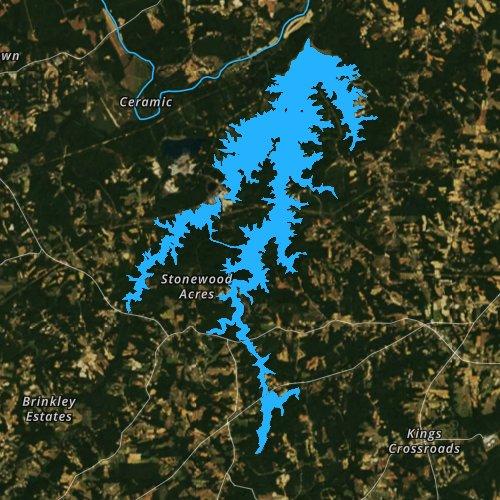 Fly fishing map for Belews Lake, North Carolina