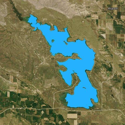 Fly fishing map for Belle Fourche Reservoir, South Dakota