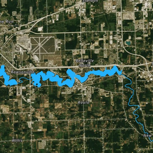 Fly fishing map for Belleville Lake, Michigan