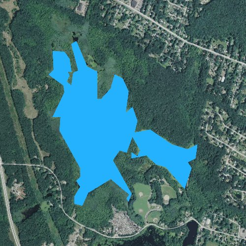 Fly fishing map for Belleville Pond, Rhode Island