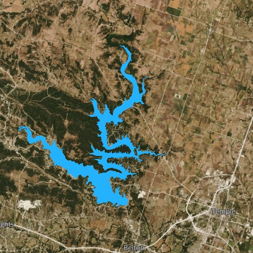 Fly fishing map for Belton Lake: Bell, Texas