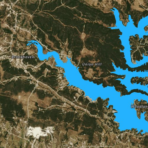 Fly fishing map for Belton Lake, Texas