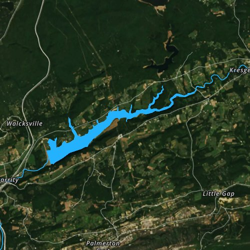 Fly fishing map for Beltzville Lake, Pennsylvania