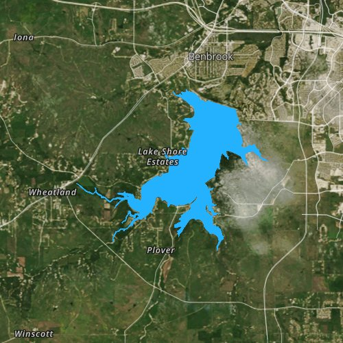Fly fishing map for Benbrook Lake, Texas