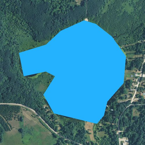 Fly fishing map for Bergess Lake, Michigan