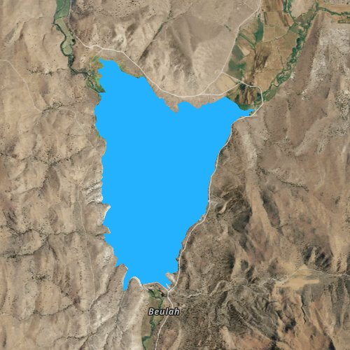 Fly fishing map for Beulah Reservoir, Oregon