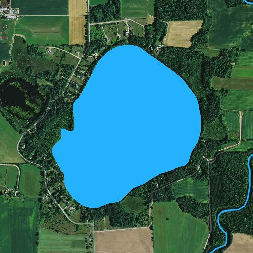 Fly fishing map for Big Bass Lake: Marathon, Wisconsin