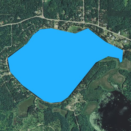 Fly fishing map for Big Bass Lake, Wisconsin