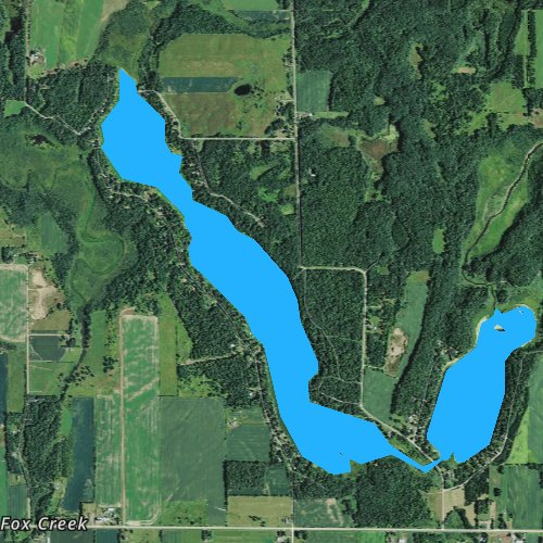 Fly fishing map for Big Blake Lake, Wisconsin