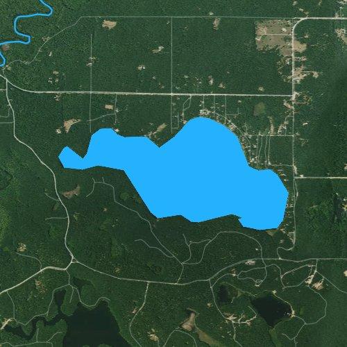 Fly fishing map for Big Blue Lake, Michigan