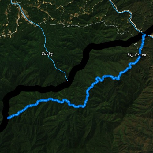 Fly fishing map for Big Creek, North Carolina