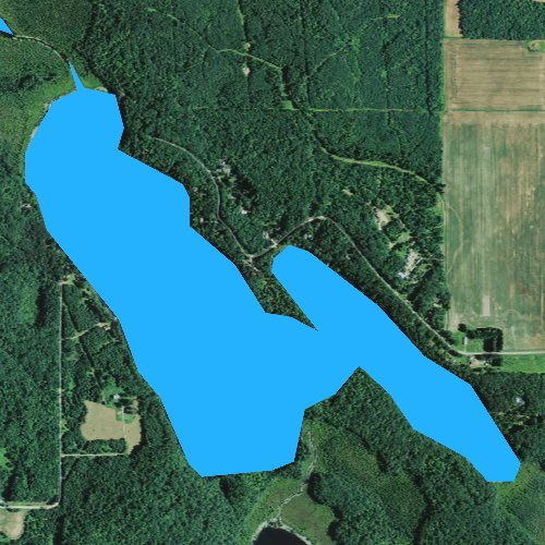 Fly fishing map for Big Devil Lake, Wisconsin