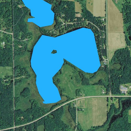 Fly fishing map for Big Dummy Lake, Wisconsin