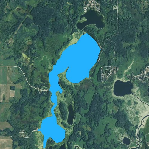 Fly fishing map for Big Evans Lake, Michigan