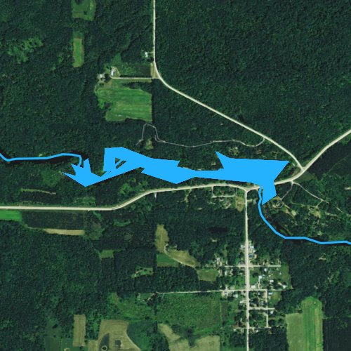 Fly fishing map for Big Falls Pond 160, Wisconsin