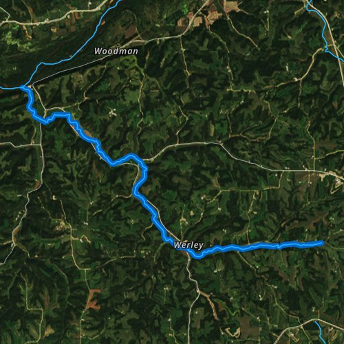 Fly fishing map for Big Green River, Wisconsin
