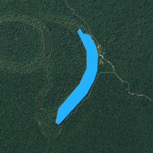 Fly fishing map for Big Hurricane Lake, Arkansas