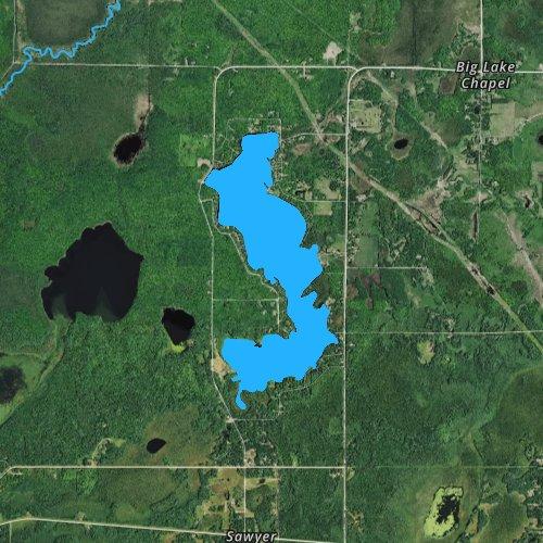 Fly fishing map for Big Lake: Carlton, Minnesota