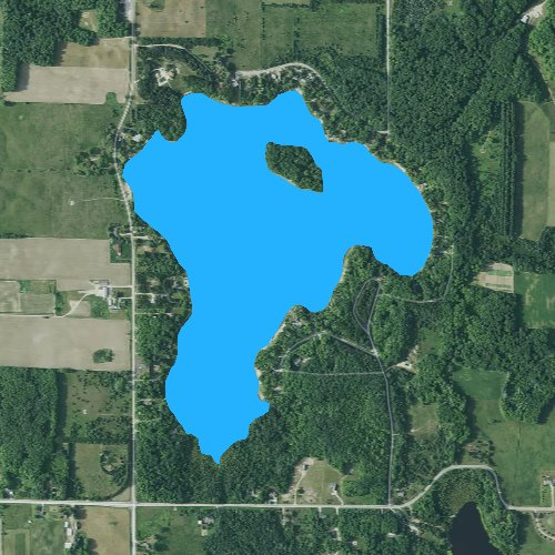 Fly fishing map for Big Lake: Otsego, Michigan