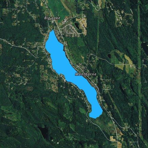 Fly fishing map for Big Lake, Washington