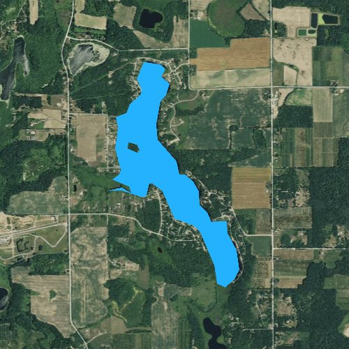Fly fishing map for Big Pine Island Lake, Michigan