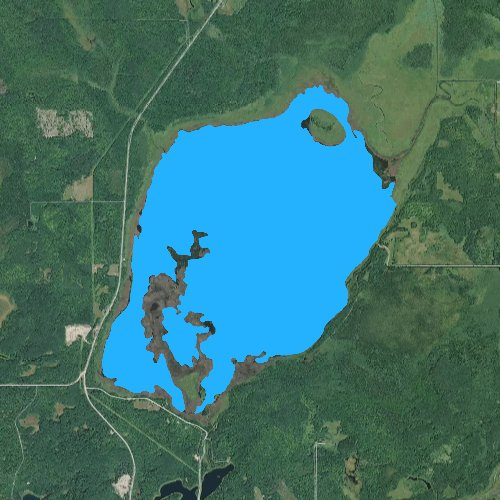 Fly fishing map for Big Rice Lake: Cass, Minnesota