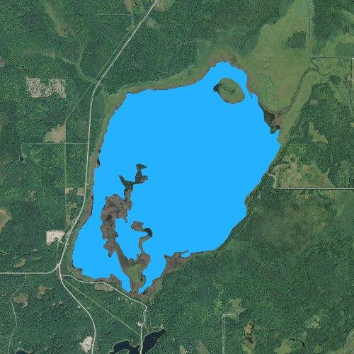 Fly fishing map for Big Rice Lake, Minnesota