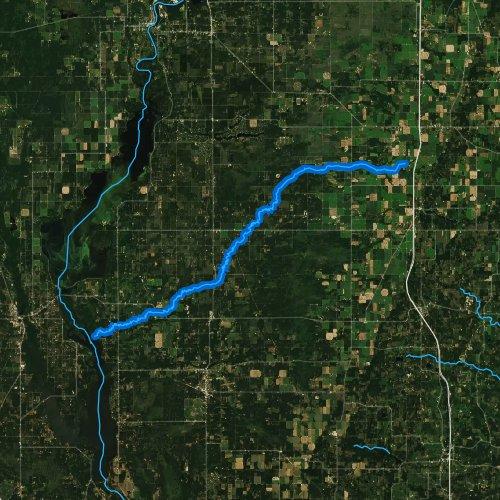 Fly fishing map for Big Roche a Cri Creek, Wisconsin