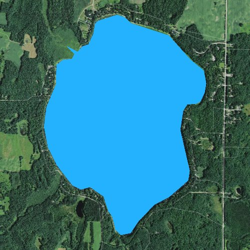 Fly fishing map for Big Round Lake, Wisconsin