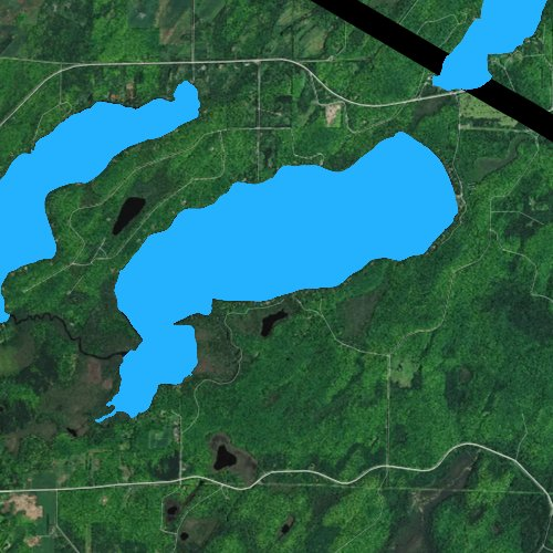 Fly fishing map for Big Sand Lake: Vilas, Wisconsin