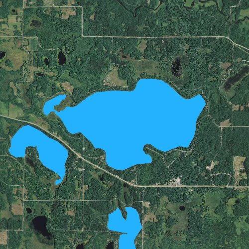 Fly fishing map for Big Sand Lake, Wisconsin