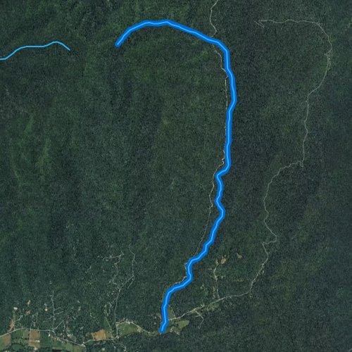 Fly fishing map for Big Tuni Creek, North Carolina