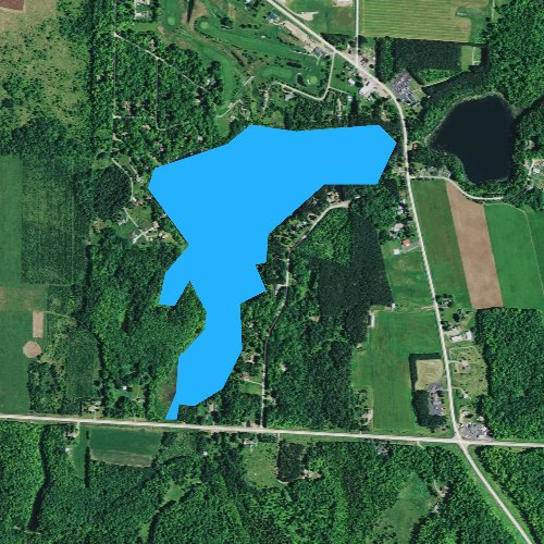 Fly fishing map for Big Twin Lake, Wisconsin