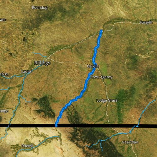 Fly fishing map for Bighorn River, Montana