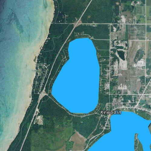 Fly fishing map for Birch Lake, Michigan