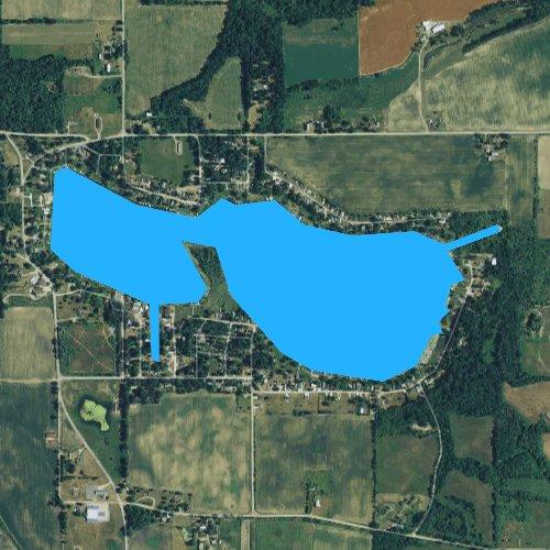 Fly fishing map for Bird Lake, Michigan