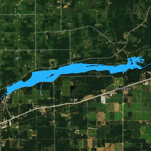 Fly fishing map for Biron Flowage, Wisconsin