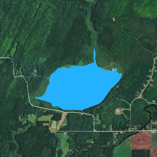 Fly fishing map for Bishop Lake, Wisconsin