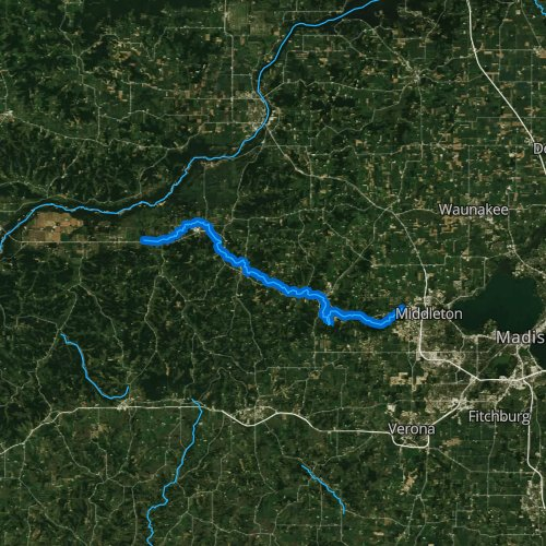 Fly fishing map for Black Earth Creek, Wisconsin
