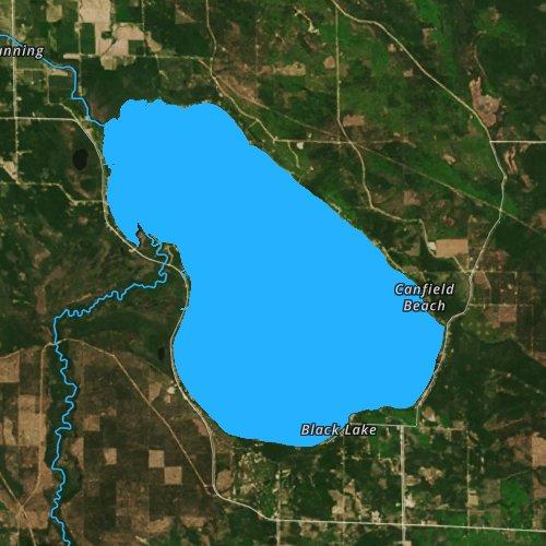 Fly fishing map for Black Lake: Presque Isle, Michigan