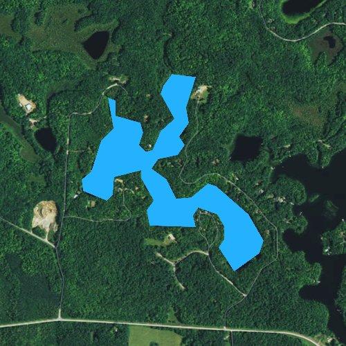 Fly fishing map for Black Oak Lake, Wisconsin