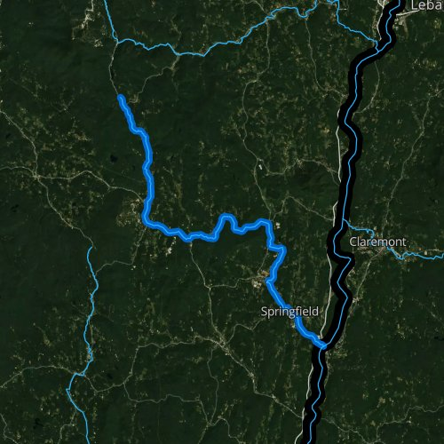 Fly fishing map for Black River, Vermont