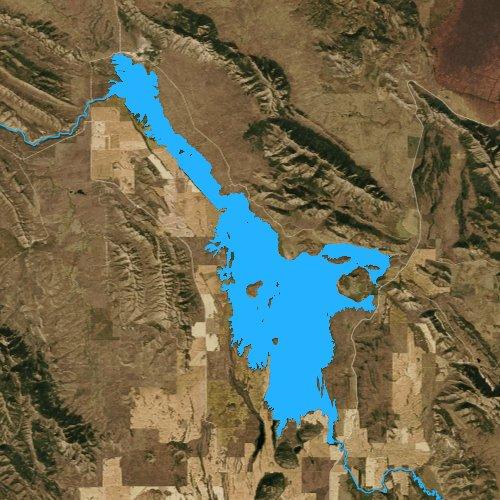 Fly fishing map for Blackfoot Reservoir, Idaho