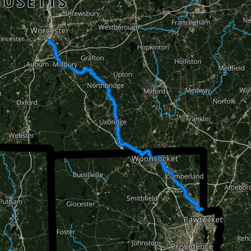 Fly fishing map for Blackstone River, Rhode Island