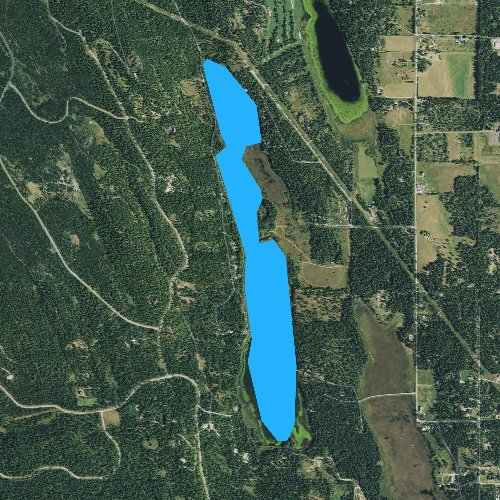 Fly fishing map for Blanchard Lake, Montana